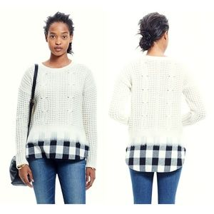 $128 Madewell Wintermix Cable Sweater XS Plaid